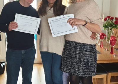 Jill and Derek get certificates